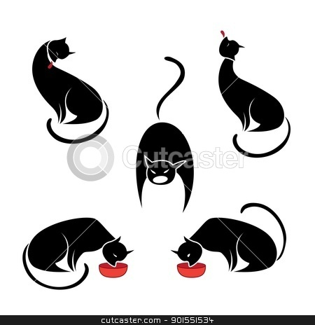 Big set of the black cats.  stock photo, Big set of the black cats. Illustration on white background by dvarg