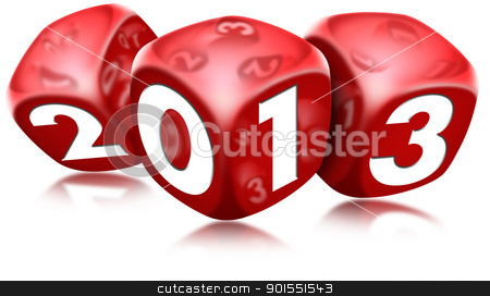 Dice 2013 Happy New Year stock photo, Three red dice with the written 2013 and reflections  by catalby