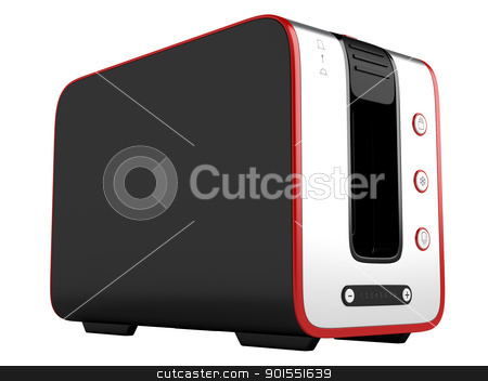 Toaster with red contour stock photo, Toaster with red contour isolated on white background by Nmorozova