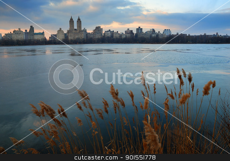 Central Park, New York City stock photo, Wall Street, New York City - February 3,  Central Park at dusk with skyscrapers, February 3, 2010 in New York City, New York. by rabbit75_cut