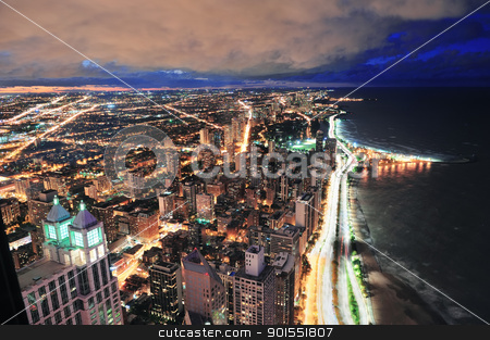 Chicago skyline panorama aerial view stock photo, Chicago skyline panorama aerial view with skyscrapers over Lake Michigan with cloudy  sky at dusk. by rabbit75_cut
