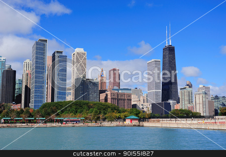 Chicago  stock photo, Chicago city urban skyline with skyscrapers over Lake Michigan with cloudy blue sky. by rabbit75_cut