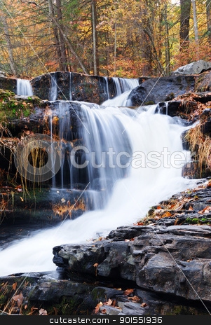 Autumn Waterfall in mountain stock photo, Waterfall with trees and rocks in mountain in Autumn. From Pennsylvania Dingmans Falls. by rabbit75_cut