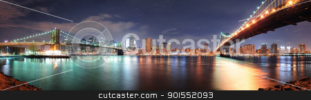 New York City panorama stock photo, New York City Manhattan downtown skyline panorama with skyscraper and water reflection over East River at night by rabbit75_cut