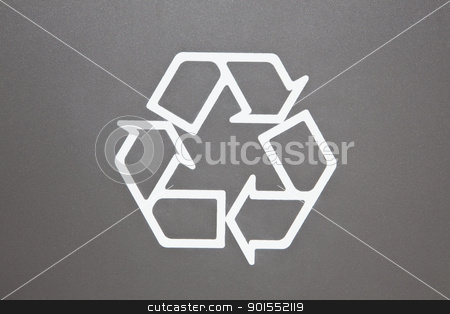 Recycle Symbol stock photo, Recycle Symbol on grey background, environmental close-up by Bryan Mullennix