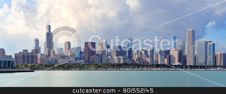 Chicago skyline over Lake Michigan stock photo, Chicago skyline panorama with skyscrapers over Lake Michigan with cloudy blue sky. by rabbit75_cut