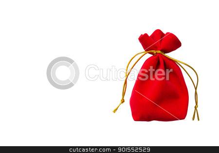 Red velvet bag stock photo, Red velvet bag isolated on white background by Lavoview
