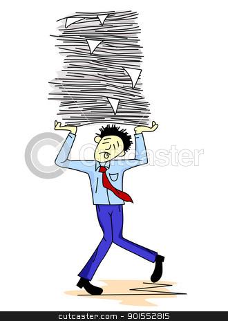 Tired man carrying paper work  stock vector clipart, Vector Illustration of  Tired man carrying paper work  by Surya Zaidan