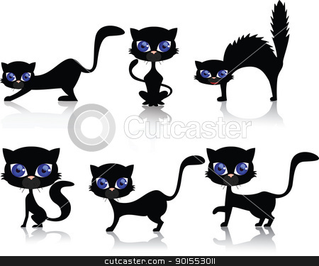 Black CAt stock vector clipart, Vector Illustration Of Black CAt by Surya Zaidan