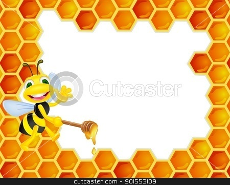 Bee Cartoon With Honey Comb Stock Vector