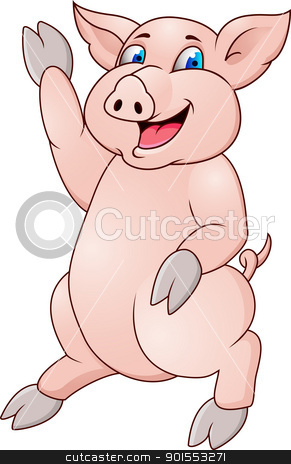 Pig Cartoon stock vector clipart, Vector illustration Of Pig Cartoon by Surya Zaidan