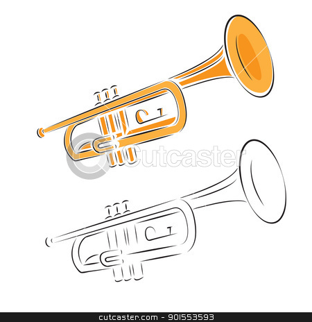 trumpet set isolated on white background stock vector clipart, Trumpet set isolated on white. Vector illustration. by antkevyv