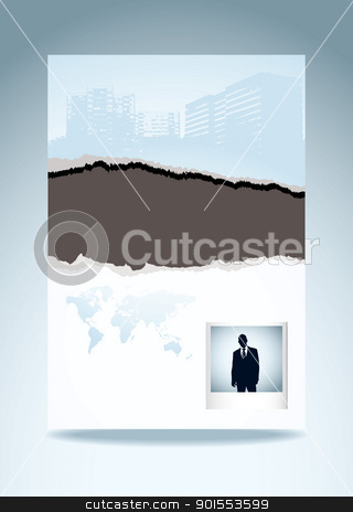 Rip torn template page stock vector clipart, Business paper with torn edge eco icon and instant photograph by Michael Travers