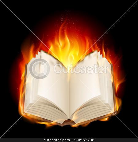 Burning book stock photo, Burning book. Illustratin on black background for design by dvarg