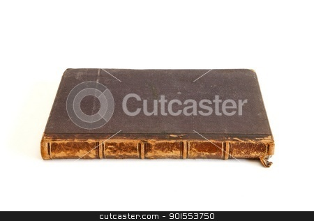 Antique book lies isolated  stock photo, Antique book lies isolated on white background by Shlomo Polonsky