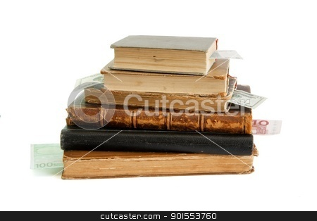 Stack of old books with banknote bookmarks isolated  stock photo, Stack of old books with banknote bookmarks isolated  by Shlomo Polonsky