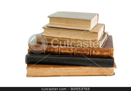 Stack of old books isolated  on white background stock photo, Stack of old books isolated  on white background by Shlomo Polonsky