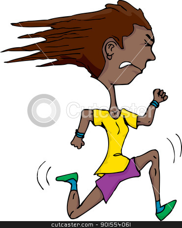 Young Latina Runner stock vector clipart, Athletic Hispanic woman isolated over white running fast by Eric Basir