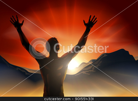Man in silhouette arms raised on mountain stock vector clipart, A man at sunrise or sunset with hands raised and sun rising over mountains. by Christos Georghiou