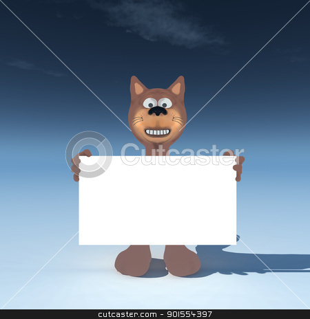 cat wih blank sign stock photo, funny cat with blank sign - 3d cartoon illustration by J?