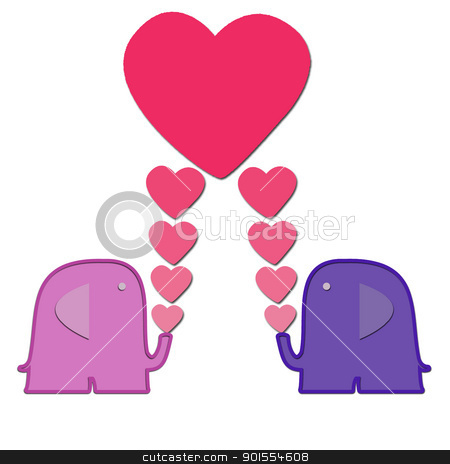 Valentine Elephant with heart for background stock photo, Valentine Elephants with heart for background and text note by jumpe