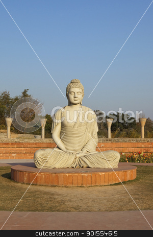image of buddha stock photo, an image of buddha in a park with trees and flowers under a blue sky by Mike Smith