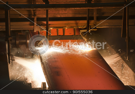 Gas cutting of the hot metal stock photo, Gas cutting of the hot metal inside of plant by manaemedia
