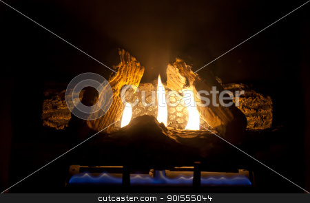 Fire Place stock photo, Close-up of bright and hot fire burning by Stephane Thomas Durocher