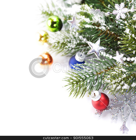 Christmas decoration stock photo, Christmas decoration isolated on the white background with sample text by klenova