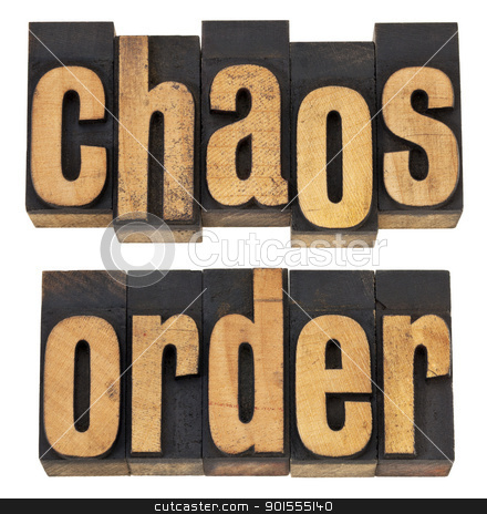 chaos and order stock photo, chaos and order  - a collage of isolated words in vintage letterpress wood type by Marek Uliasz