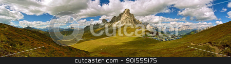 Panorama from Giau Pass / Panorama di Passo Giau  stock photo, A panoramic landscape from an hilltop near Giau Pass / Una veduta panoramica dalla cima di un colle vicino a Passo Giau by emiliano beltrani