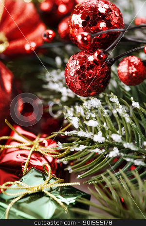 Bright christmas composition stock photo, Bright christmas composition with christmas tree and gifts by klenova