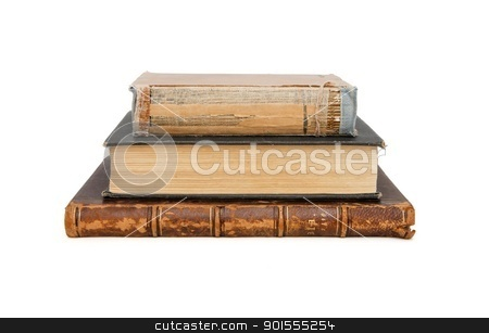 Stack of three old books isolated  stock photo, Stack of three old books isolated  by Shlomo Polonsky