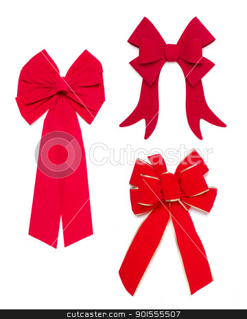 Set of Red Bows and Ribbons stock photo, Set of Three Red Bows and Ribbons on White Background. by Andy Dean