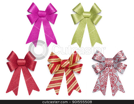 Set of Five Multicolored Glitter Bows and Ribbons stock photo, Set of Five Multicolored Glitter Bows and Ribbons on White Background. by Andy Dean