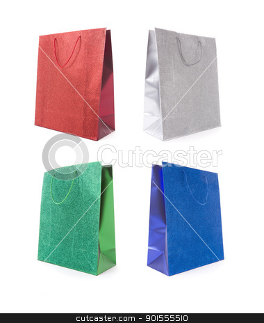 Set of Four Multicolored Glitter Gift Bags stock photo, Set of Four Multicolored Glitter Gift Bags on a White Background. by Andy Dean