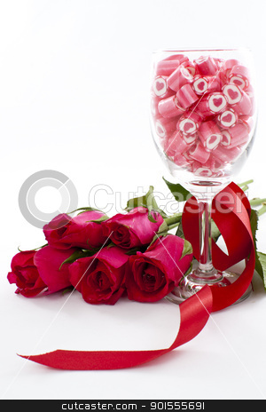 Candy in wine glass with rose stock photo, Valentine Series, Candy in wine glass with rose on white background  by pixs4u