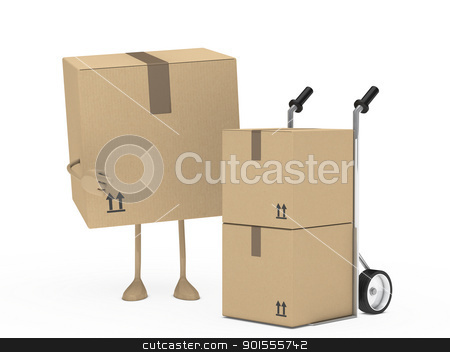 package figur and hand truck stock photo, package figur shows finger on hand truck by d3images