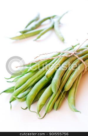 Green beans on white background stock photo, Green beans on white background close up by Nanisimova