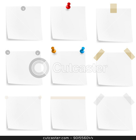 Paper notes and stickers stock photo, Paper notes and stickers. Illustration on white background by dvarg