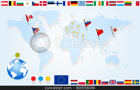 Set Flags of EU countries on world map stock photo, Flags of EU countries on world map and globe with pointers by Imaster