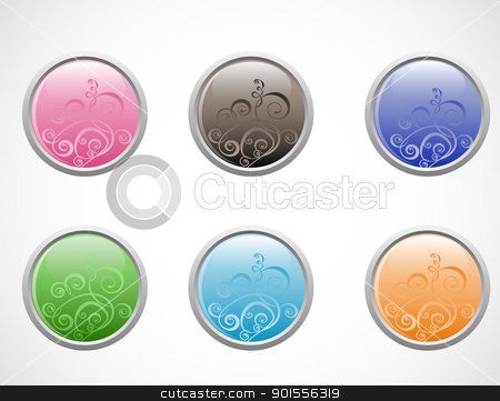 vector glossy buttons stock vector clipart, vector glossy buttons isolated on a white background by Ekaterina Shvetsova