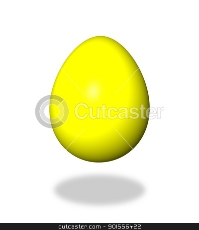 Egg Yellow stock photo, Yellow egg on white background with shadow. by Henrik Lehnerer