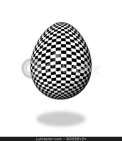 Egg Checkered stock photo, Checkered egg on white background with shadow. by Henrik Lehnerer
