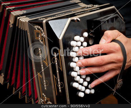 Playing traditional bandoneon. stock photo, Playing the bandoneon, traditional tango instrument, Argentina. by Pablo Caridad