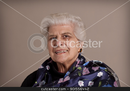Happy senior lady portrait. stock photo, Senior lady portrait, smiling with copy space.  by Pablo Caridad