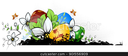 Easter Eggs with Flowers stock vector clipart, Easter Background with Eggs Flowers and Butterfly by Vadym Nechyporenko