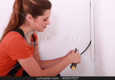 portrait of a female electrician stock photo, portrait of a female electrician by photography33