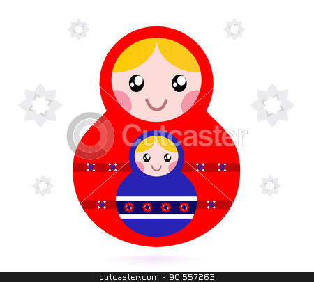 Matryoshka dolls isolated on white stock vector clipart, Russian nested dolls, also known as Matryoshka. Vector by BEEANDGLOW