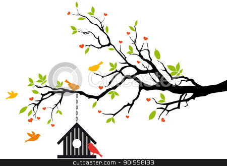 bird house on spring tree, vector stock vector clipart, bird house on spring tree with green leaves, vector background by Beata Kraus